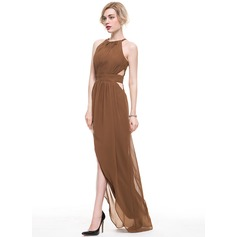 A-Line/Princess Scoop Neck Asymmetrical Chiffon Evening Dress With Ruffle