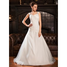 A-Line/Princess Off-the-Shoulder Chapel Train Organza Wedding Dress With Ruffle Beading Sequins