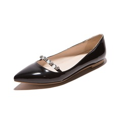 Women's Leatherette Flat Heel Flats Closed Toe With Crystal shoes