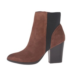 Women's Suede Chunky Heel Pumps Closed Toe Boots Ankle Boots shoes
