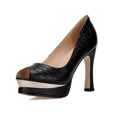 Women's Real Leather Stiletto Heel Pumps Platform Peep Toe shoes