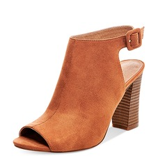 Women's Suede Chunky Heel Boots Peep Toe Ankle Boots With Buckle shoes