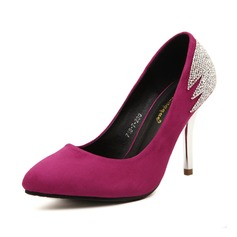 Leatherette Stiletto Heel Pumps Closed Toe With Rhinestone shoes