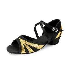 Women's Kids' Satin Sparkling Glitter Heels Sandals Latin With Ankle Strap Dance Shoes