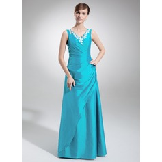 A-Line/Princess V-neck Floor-Length Taffeta Bridesmaid Dress With Ruffle Appliques Lace