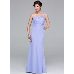 Trumpet/Mermaid One-Shoulder Floor-Length Chiffon Bridesmaid Dress With Ruffle Beading
