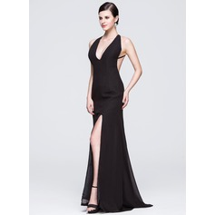 Sheath/Column V-neck Sweep Train Chiffon Evening Dress With Split Front