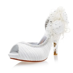 Women's Satin Stiletto Heel Peep Toe Pumps Sandals With Rhinestone Stitching Lace Flower