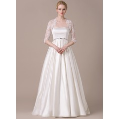 A-Line/Princess Sweetheart Floor-Length Satin Wedding Dress With Ruffle Beading