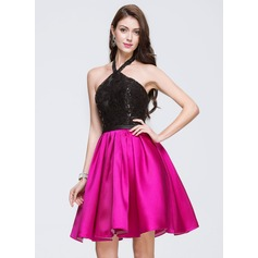 A-Line/Princess Halter Knee-Length Satin Lace Prom Dress With Sequins