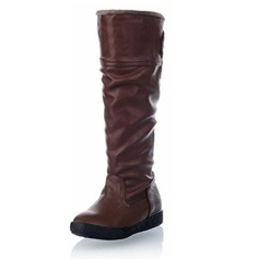 Women's Leatherette Flat Heel Flats Closed Toe Boots Knee High Boots shoes