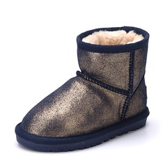 Girl's Real Leather Flat Heel Round Toe Boots