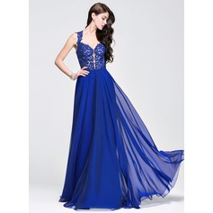 A-Line/Princess Sweetheart Floor-Length Chiffon Prom Dress With Beading Appliques Lace Sequins
