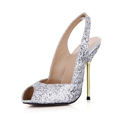 Women's Sparkling Glitter Stiletto Heel Peep Toe Pumps Slingbacks