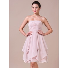 A-Line/Princess Strapless Knee-Length Chiffon Bridesmaid Dress With Cascading Ruffles