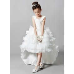 Ball Gown Court Train Flower Girl Dress - Tulle/Polyester Sleeveless Scoop Neck With Beading/Rhinestone