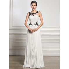 A-Line/Princess Scoop Neck Floor-Length Chiffon Evening Dress With Appliques Lace Pleated