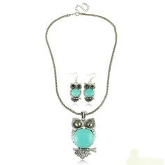 Cute Owl Alloy Imitation Turquoise Ladies' Jewelry Sets
