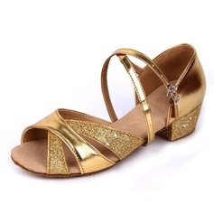 Women's Kids' Leatherette Sparkling Glitter Heels Sandals Latin With Ankle Strap Dance Shoes