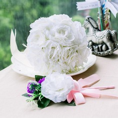 Attractive Round Satin Flower Sets(Including Boutonniere, Bridal Bouquets)