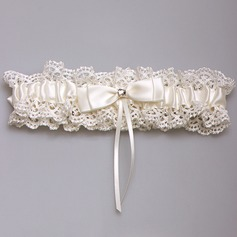 Unique Satin/Lace With Bowknot/Rhinestone Wedding Garters (104073712)