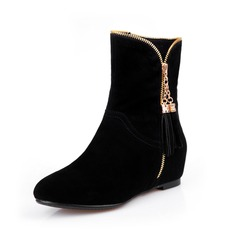 Real Leather Wedge Heel Ankle Boots With Zipper shoes