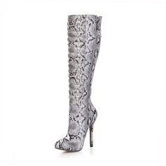 Women's Leatherette Stiletto Heel Closed Toe Boots Knee High Boots With Buckle Animal Print Zipper shoes (088095433)
