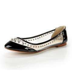 Patent Leather Flat Heel Flats Closed Toe With Rivet shoes