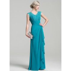 A-Line/Princess V-neck Floor-Length Chiffon Mother of the Bride Dress With Cascading Ruffles