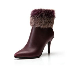 Leatherette Stiletto Heel Pumps Ankle Boots With Fur shoes
