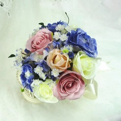 Refined Round Artificial Silk Bridesmaid Bouquets