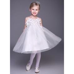 A-Line/Princess Short/Mini Flower Girl Dress - Tulle Straps With Appliques/Flower(s)/Rhinestone