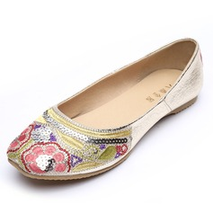 Women's Leatherette Flat Heel Flats Closed Toe With Sequin Stitching Lace shoes
