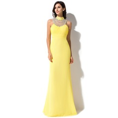 Trumpet/Mermaid High Neck Watteau Train Chiffon Evening Dress With Ruffle Beading Sequins Bow(s)