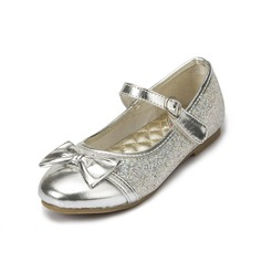 Kids' Sparkling Glitter Flat Heel Closed Toe Flats With Bowknot Buckle