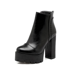 Women's Leatherette Chunky Heel Platform Ankle Boots shoes