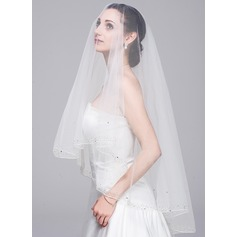 One-tier Fingertip Bridal Veils With Beaded Edge (006078826)