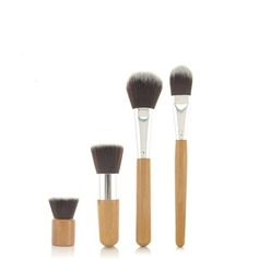 4 Pcs Synthetic Hair Bamboo Handel Makeup Brush Set