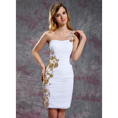 Sheath/Column One-Shoulder Short/Mini Chiffon Homecoming Dress With Ruffle Beading Appliques Lace Sequins