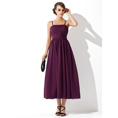 Empire Tea-Length Chiffon Chiffon Maternity Bridesmaid Dress With Ruffle Flower(s) (045004419)
