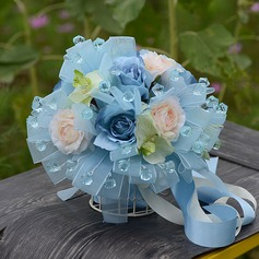 Attractive Organza/Artificial Silk/Acrylic Bridesmaid Bouquets