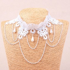 Nice Alloy Imitation Pearls Lace With Imitation Pearl Lace Ladies' Fashion Necklace