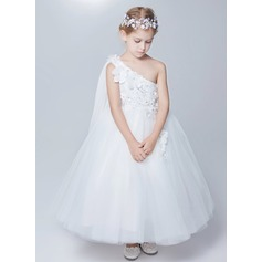 A-Line/Princess Ankle-length Flower Girl Dress - Satin/Tulle One-Shoulder With Flower(s)/Bow(s)
