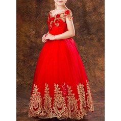 Ball Gown Ankle-length Flower Girl Dress - Tulle Short Sleeves Bateau With Flower(s)