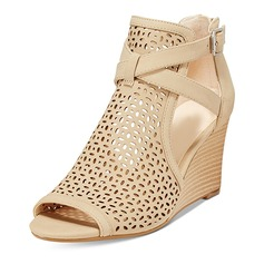 Women's Leatherette Wedge Heel Boots Peep Toe Ankle Boots With Buckle shoes