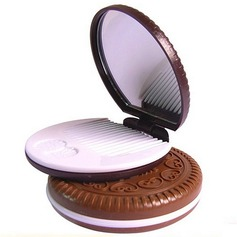 """Round Cookies"" Plastic/Glass Compact Mirror"