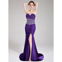 Trumpet/Mermaid Sweetheart Sweep Train Charmeuse Prom Dress With Beading Split Front