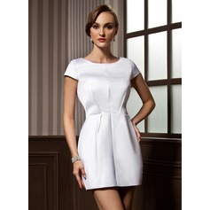 Forme Fourreau Col rond Court/Mini Satiné Robe de cocktail