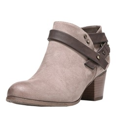 Women's Suede Low Heel Boots Ankle Boots With Buckle shoes