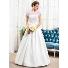 A-Line/Princess Scoop Neck Floor-Length Taffeta Lace Wedding Dress With Beading Sequins Bow(s)